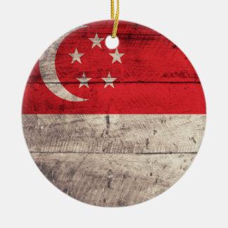 シンガポールの古い木の旗 セラミックオーナメント