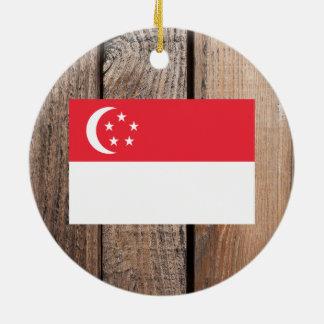 シンガポールの国旗 セラミックオーナメント