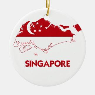 シンガポールの地図 セラミックオーナメント