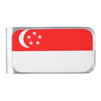 シンガポールの旗 シルバー マネークリップ