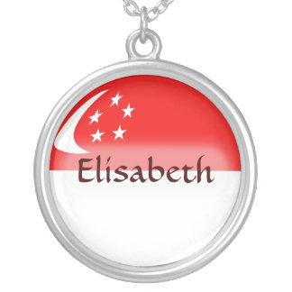 シンガポールの旗 + 一流のネックレス シルバープレートネックレス