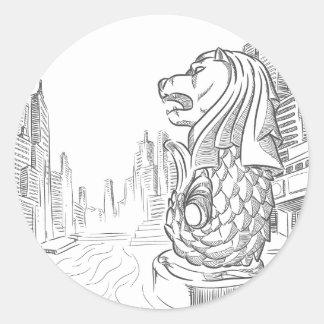 シンガポールの観光事業の陸標- Merlionのスケッチ ラウンドシール