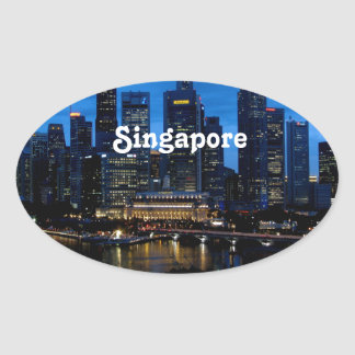 シンガポールの都市景観 楕円形シール
