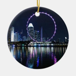 シンガポール夜スカイライン セラミックオーナメント