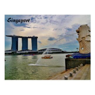 シンガポール: Merlionおよびマリーナ湾の砂のホテル ポストカード