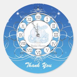 シンデレラのほとんど真夜中の青い銀製のパーティの記念品 ラウンドシール
