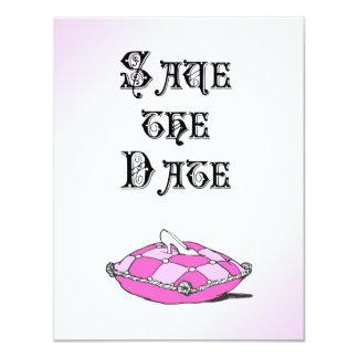 シンデレラのガラススリッパのピンクの結婚式の発表 カード