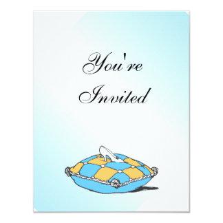 シンデレラのスリッパのティール(緑がかった色)の枕招待状 カード