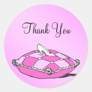 シンデレラのスリッパのピンクのステッカーありがとう ラウンドシール