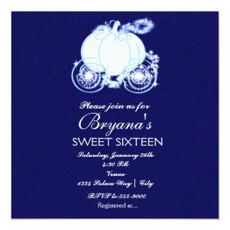 シンデレラのロイヤルブルーのプリンセスキャリッジ招待状 カード