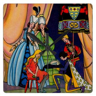 シンデレラ、王子およびガラススリッパ スクエア壁時計
