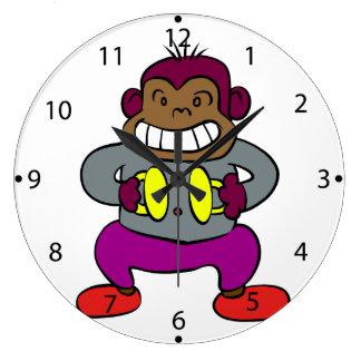 シンバルのおもちゃを持つレトロ猿 ラージ壁時計