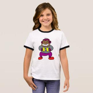 シンバルのおもちゃを持つレトロ猿 Tシャツ