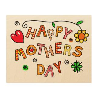 シンプルおよびおもしろいの幸せな母の日 ウッドウォールアート