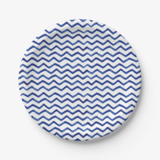 シンプルおよびおもしろいの藍色のPatten  の紙皿 ペーパープレート
