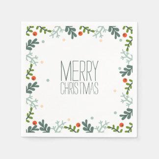 シンプルけれどもエレガントなクリスマスのリース のナプキン スタンダードカクテルナプキン