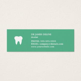 シンプルできれいな緑の白い歯科医のアポイントメントカード スキニー名刺