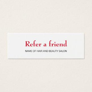 シンプルでエレガントできれいで赤く白い紹介カード スキニー名刺