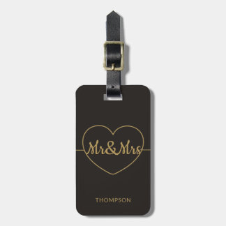 シンプルでエレガントで暗く模造のな金ゴールドMr&Mrs ラゲッジタグ
