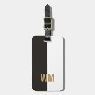 シンプルでエレガントな白黒の模造のな金ゴールドのモノグラム バッグタグ