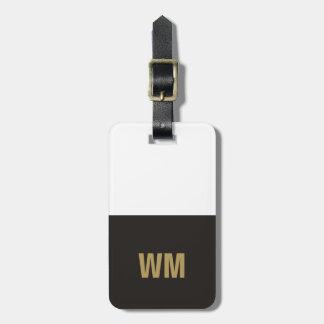 シンプルでエレガントな白黒模造のな金ゴールドのモノグラム ラゲッジタグ