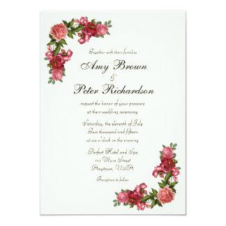 シンプルでエレガントな花の結婚式招待状 カード