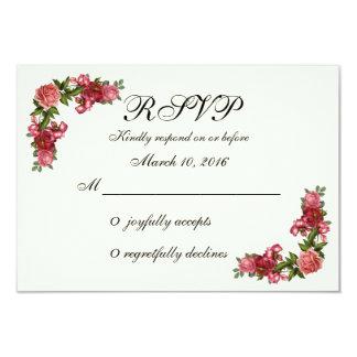 シンプルでエレガントな花柄RSVP カード