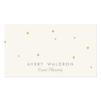 シンプルでエレガントな金ゴールドの星のイベントプランナーのクリームの白 スタンダード名刺