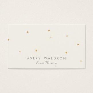 シンプルでエレガントな金ゴールドの星のイベントプランナーのクリームの白 名刺