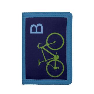シンプルでカスタムな緑のバイク ナイロン三つ折りウォレット
