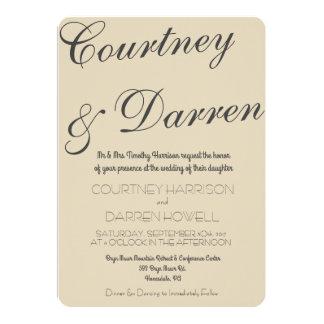 シンプルでシックな原稿の結婚式招待状 12.7 X 17.8 インビテーションカード