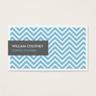 シンプルでシックな淡いブルーのシェブロンのジグザグ形のプロフィールカード 名刺