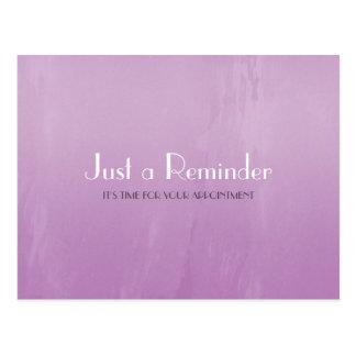 シンプルでシックな紫色の抽象芸術のアポイントメントのメモ ポストカード