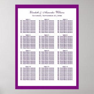シンプルでシックな紫色の結婚式の座席の図表|ポスター プリント