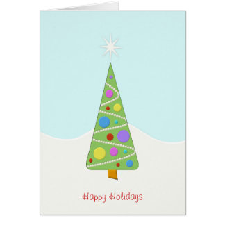 シンプルでモダンなクリスマスツリーの幸せな休日の雪 カード