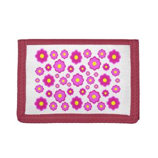 シンプルでモダンなピンクの花パターン ナイロン三つ折りウォレット