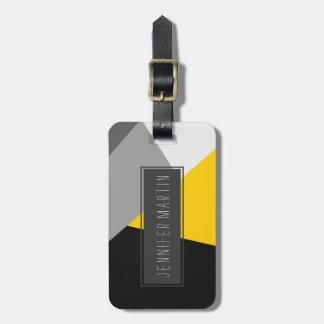 シンプルでモダンな灰色の黄色および黒いGeo ラゲッジタグ