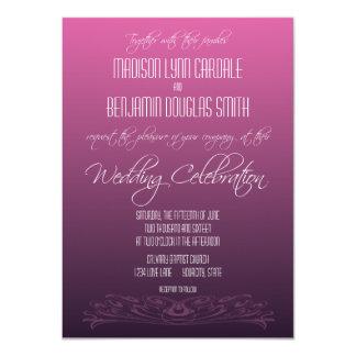 シンプルでモダンな紫色の勾配の結婚式招待状 11.4 X 15.9 インビテーションカード