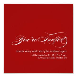 シンプルでモダンな結婚式招待状は赤い白を梳きます カード