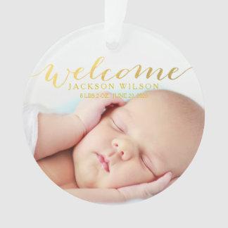シンプルでモダンな赤ん坊の誕生の写真の発表 オーナメント