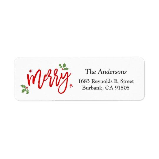 シンプルで上品なメリークリスマスの手によって書かれる原稿 返信用宛名ラベル
