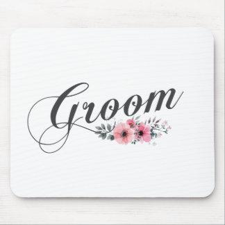 シンプルで及びエレガントな新郎のピンクの花柄 のマウスパッド マウスパッド