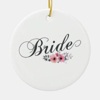 シンプルで及びエレガントな花嫁のピンクの花柄 のオーナメント セラミックオーナメント