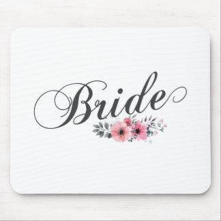 シンプルで及びエレガントな花嫁のピンクの花柄 のマウスパッド マウスパッド