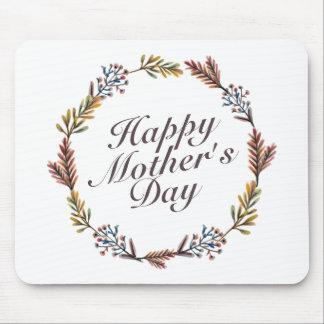シンプルで幸せな母の日の花のリースのマウスパッド マウスパッド