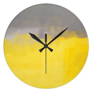 「シンプルで抽象的な」灰色および黄色の芸術の時計 ラージ壁時計