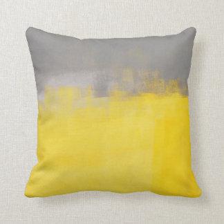 「シンプルで抽象的な」灰色および黄色の芸術の枕 クッション