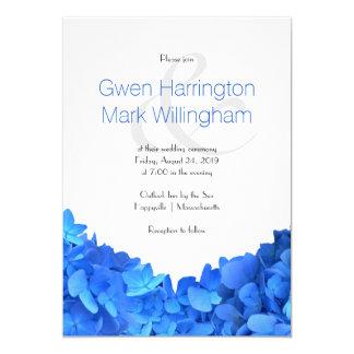 シンプルで明るく青い花の結婚式 12.7 X 17.8 インビテーションカード