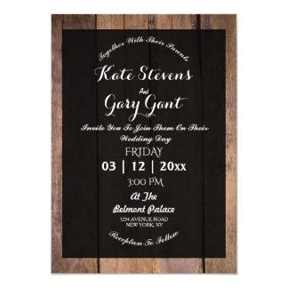 シンプルで暗い木製の結婚式招待状 カード