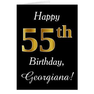 シンプルで模造のな金ゴールドの第55誕生日 + 名前をカスタムするカード カード